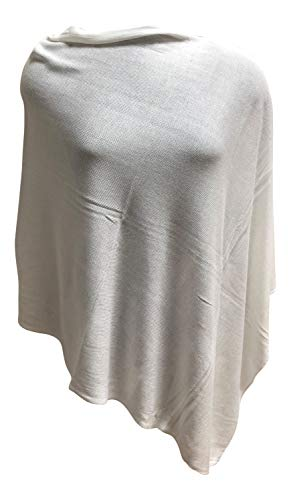 Anny's 100% Bamboo Natural Fiber Poncho Pullover Topper Jacket Ruana with Gift Bag (White)