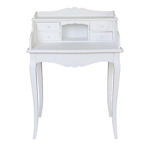 Kleiner Sekretär MARIE weiß im Landhausstil Schreibtisch mit 4 Schubladen