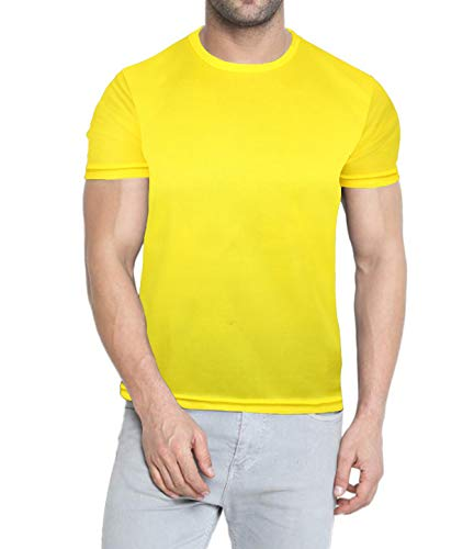 Miracle(Tm) Neon Compression High Visiblity T Shirt - Wicking Short Sleeve Men Compression Shirt Yellow (S) (Volleyball Yellow T-shirt)