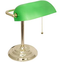 Light Accents Metal Bankers Lamp with Green Glass Shade and Polished Brass Finish