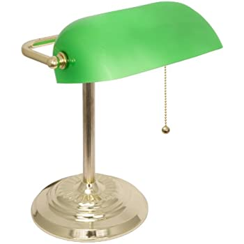 Light accents metal bankers lamp with green glass shade and polished light accents metal bankers lamp with green glass shade and polished brass finish aloadofball Choice Image