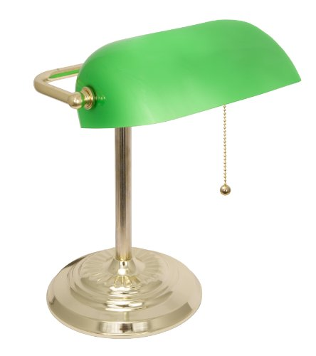 Traditional Table Torchiere Lamp - Light Accents Metal Bankers Lamp with Green Glass Shade and Polished Brass Finish