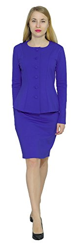 Ladies Suit (Marycrafts Women's Formal Office Business Work Skirt Suit Set 14 Blue 3)