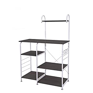 GoodLock(TM) Hot!!🔥🌻Multifunctional Kitchen Rack Microwave Oven Floor Shelf Storage Storage Cupboard 3-Tier Cupboard Baker's Rack Table for Spice Rack Organizer Workstation (Black)