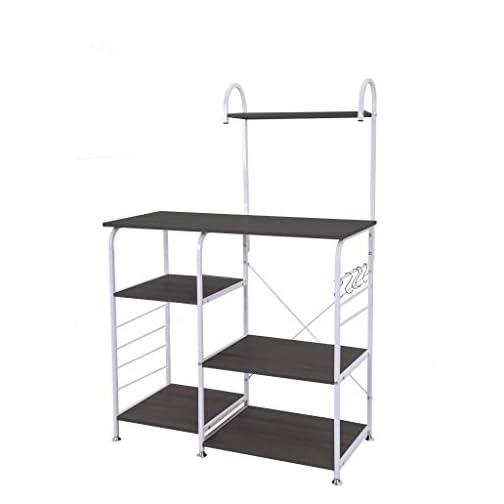 Mefedcy 3-Tier Kitchen Baker's Rack Utility Microwave Oven Stand Storage Cart Workstation Shelf (Black)