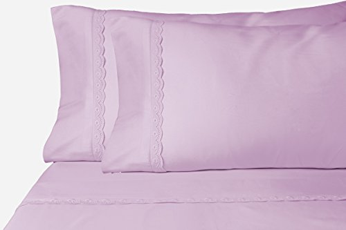 Collection Eyelet (ViscoSoft Chic'y Luxe Eyelet Collection Microfiber Sheet Set - Super Soft, Hypoallergenic, Wrinkle Resistant, Fade Resistant, Deep Pocket, Embellished - 4 piece (Full, Lavender))