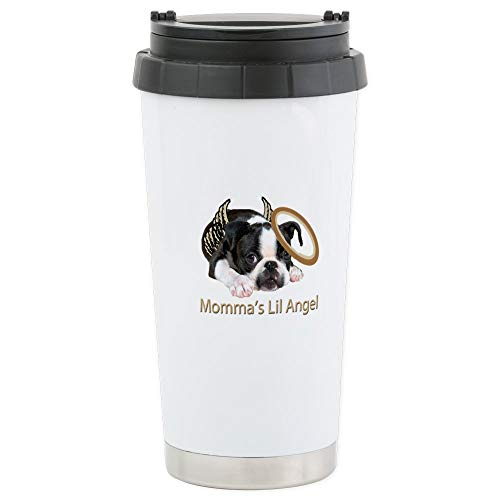 CafePress Mommas Lil Angel Boston Terrier Travel Mug Stainless Steel Travel Mug, Insulated 16 oz. Coffee Tumbler ()