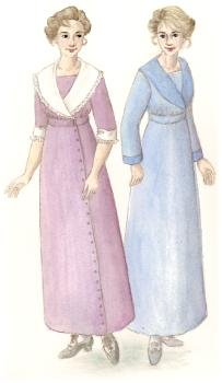 [1910's Shawl Collar Dress Pattern] (1910 Costumes)