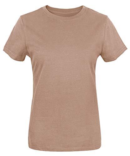 Tan Basic Tee - Funny World Women's Heavyweight Thick Cotton Basic Soft T-Shirts (M, Khaki)