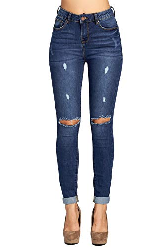 ICONICC Women's Ripped Skinny Jeans Butt Lifting Denim (JP1083CTA_MD_5) (Color Ripped Skinny Jeans)