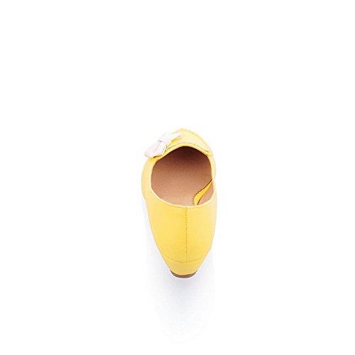 Balamasa Damer Spunnet Guld Bowknot Färgmatchning Tjocka Botten Häl Urringade Delar Imiterade Läder Pumpar-skor Gul