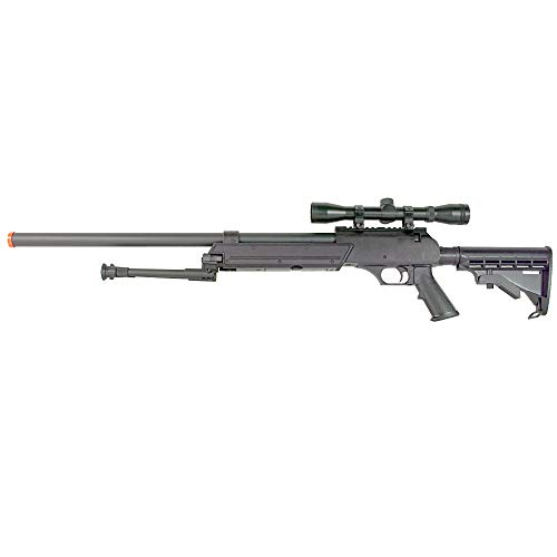 BBTac Powerful And Precision Spring Airsoft Sniper Rifle Gun, Heavy Weight with 3x Scope and Bipod (Airsoft Rifle Sniper Parts)