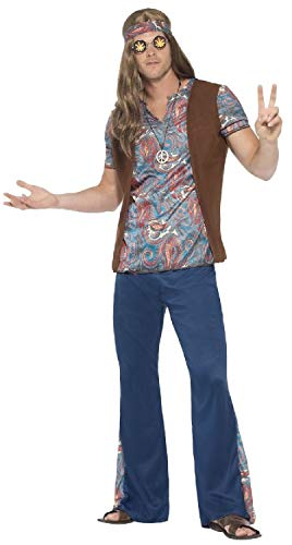 Mens 60s 70s Hippy Hippie 1960s 1970s Decade Peace Love Woodstock Carnival Fancy Dress Costume Outfit (Large)]()
