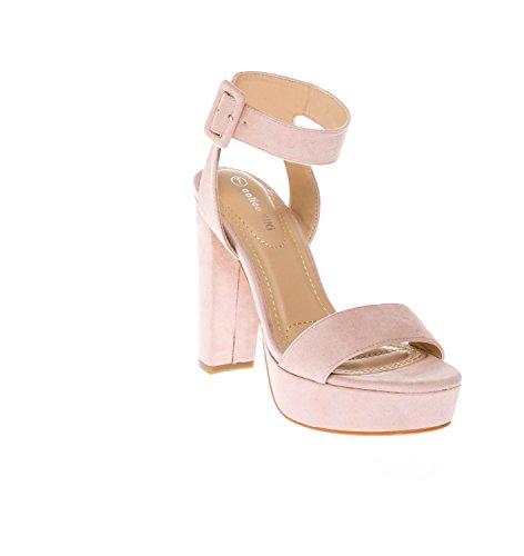 CALICO KIKI Women's Shoes Buckle Ankle Strap Open Toe Chunky High Heel Platform Dress Sandals (6.5 US, Blush_SU) - Blush Women Platform