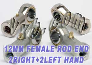 4 Female Rod End 12mm PHS12 2 Right Hand and 2 Left Hand Ball