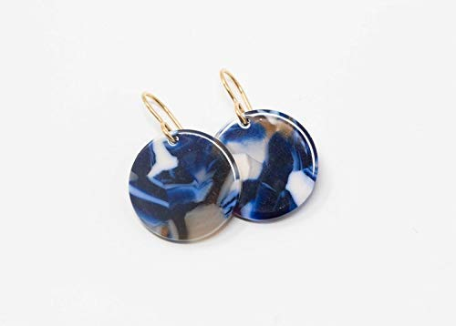 Blue Disc Earrings Blue Tortoiseshell With Brass Ear Wires