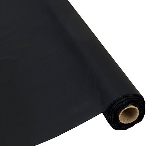 Plastic Party Banquet Table Cover Roll - 300 ft. x 40 in. - Disposable Tablecloth (Black) by Schorin