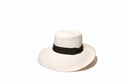 Gottex Women's San Santana Packable Sun Hat, Rated UPF 50+ for Max Sun Protection, White/Black, One Size