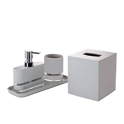 Decozen Set of 4 Pcs Bathroom Accessories Set Grey Float Pattern, Bathroom Tumbler Lotion Dispenser Square Tray Tissue Box Bathroom Decor Accessory Set