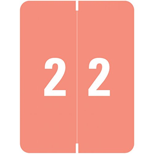 """SMEAD COMPATIBLE SMNM-2 Xlcc Color Code Label, Permanent, Numeric""""2"""", 1 1/2"""" x 2"""", Pink (Pack of 500)"""
