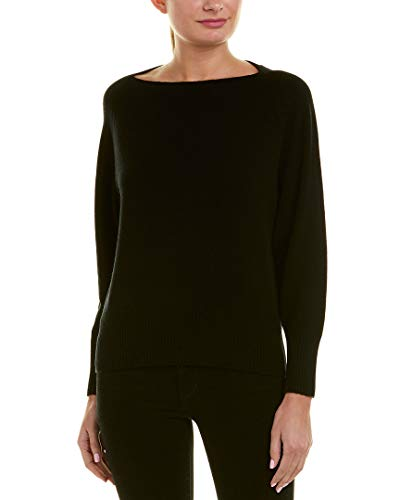 Vince Wool/Cashmere Boatneck Pullover Sweater, Black (Medium)