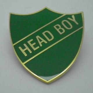 Head Boy Enamel School Shield Badge - Green - Pack of 5