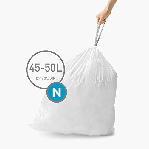 simplehuman Code N, 45-50 Liter / 12-13 Gallon, Whit Custom Fit Drawstring Trash Bags, 100 Liners, White
