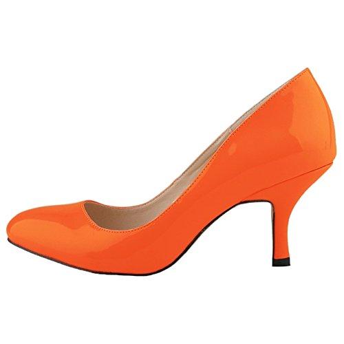Mary Kitten Shoes Orange Wedding HooH Jane Women's Heel Pumps qF0xxHXnZ