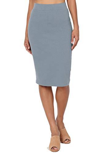 TheMogan Women's Stretch Cotton Elastic High Waist Pencil Midi Skirt Cement ()