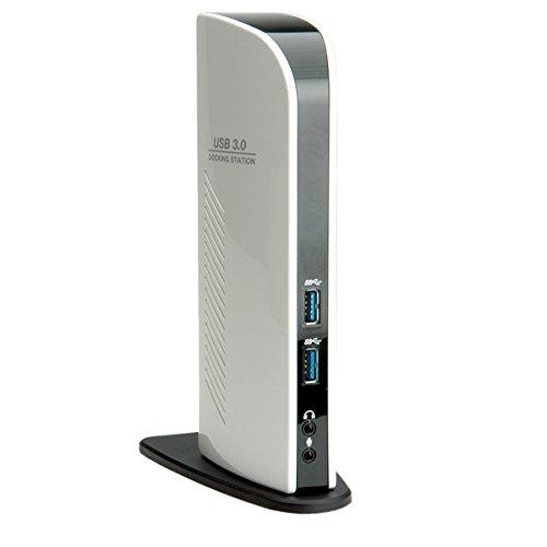 ROLINE Station daccueil Dual Head Black and White DVI, HDMI, LAN, USB 3.0, Noir, Blanc, 200 x 35 x 80 mm Accessoires dordinateurs Portables LAN DVI USB 3.0 HDMI