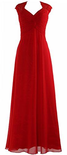 MACloth Women Cap Sleeve Lace Long Prom Dress Chiffon Wedding Party Formal Gown Rojo