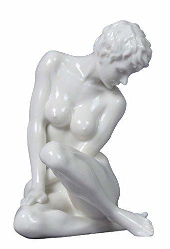 5.13 Inch Fine Porcelain Nude Female Statue Figurine Sitting, White