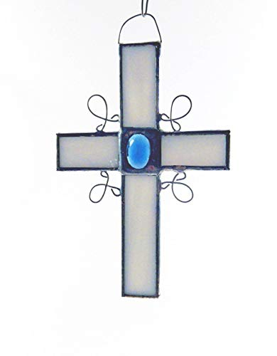 (White Stained Glass Cross with choice of vintage glass jewels in blue, red/pink, green,)