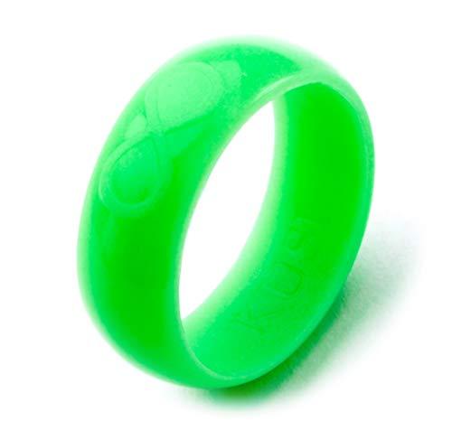 KUSI Infinity Men's Silicone Wedding Ring - Green Glow in the Dark ()