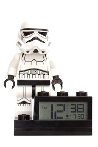ClicTime Lego Star Wars Stormtrooper Alarm Clock, 6 inches, White (Star Wars Storm Trooper Mini Figure Alarm Clock)