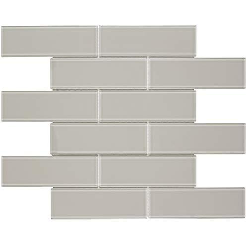 MTO0317   Modern Brick Beige Glass Mosaic Tile