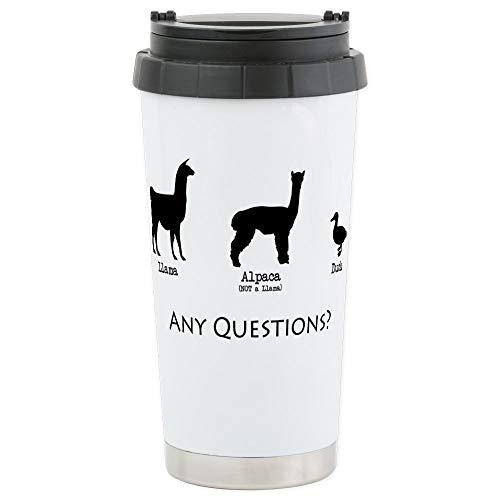 CafePress Llama Alpaca Duck - Any Questions? Stainless Steel Travel Mug, Insulated 16 oz. Coffee Tumbler Ducks Stainless Steel Travel Mug