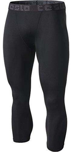 TM-MUC08-KLB_Medium Tesla Men's Compression 3/4 Capri Shorts Baselayer Cool Dry Sports Tights MUC08