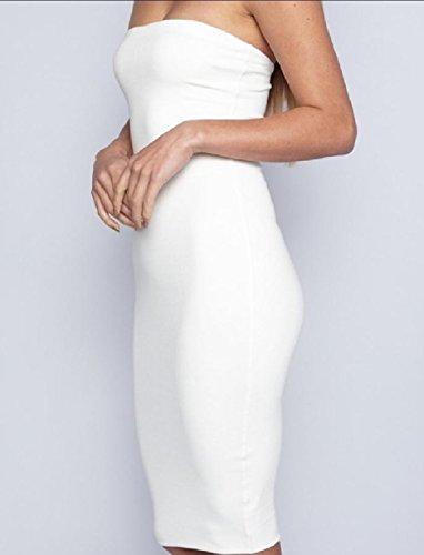 Xinheo Des Femmes De Solide Sexy Bustier Longueur Genou Robe Blanche Moulante Sinueuse