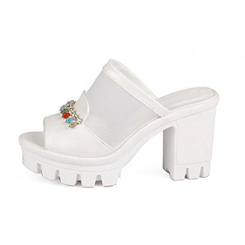 Allhqfashion Solide Hvite Åpen Høyhælte Høye Tå Hæler Kvinnekraft På sandaler rZYwCr