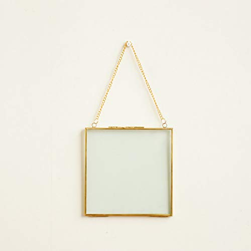 MMYU Photo Frame Simple Square Metal Edging Glass Photo Frame Glass Specimen Box Creative Living Room Wall Picture Frame Pendant