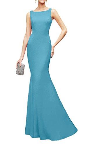 Blau Spitze Marie Abendkleider Schnitt Hell Bodenlang Chiffon Braut Partykleider Brautjungfernkleider Elegant La Schmaler wSqd7n0Td