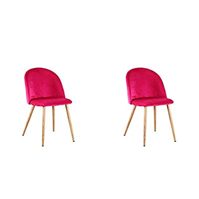 Set of 2 Retro Velvet Fabric Lounge Chairs Dining Chairs, Upholstered Dining Chairs with Metal Legs Wood Style Waiting Room Living Room Modern Office Furniture (Red) - Soft velvet fabric, filled with high density sponge, offering a supreme level of comfort. Padded seat and unique back design that will prevent you from back pain or discomfort when sitting for a long period of time. Metal feet make this chair stronger; Small anti-scratch feet at the bottom of each leg to prevent floor damage. - kitchen-dining-room-furniture, kitchen-dining-room, kitchen-dining-room-chairs - 31tu5Dc1quL. SS400  -
