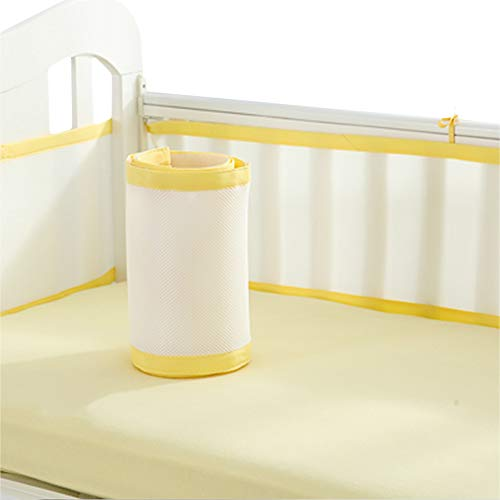 Liitrton Breathable Baby Crib Bumper Pads Collision-Proof Nursery Bedding Protect Bumper Pads Machine Washable (Yellow)