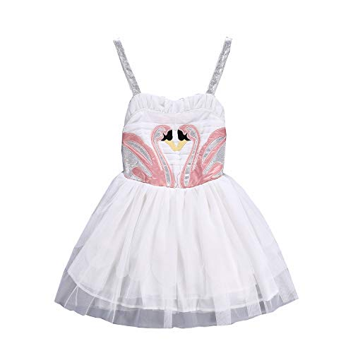 Colorfog Girls Princess Swan Flamingo Cosplay Dress Costume with Wings Kids Birthday Party Ballet Dance Dress (3T) -
