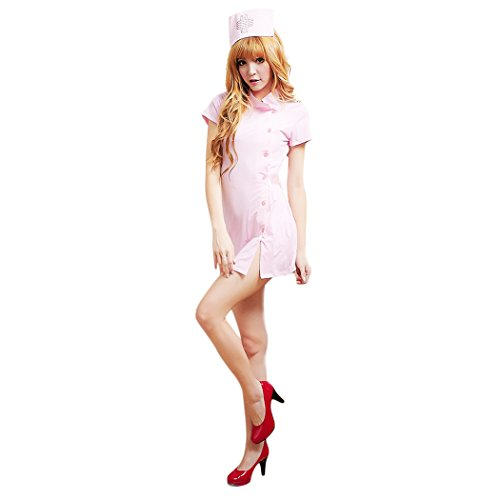 HÖTER Women's Sexy Nurse Dress Halloween Sweet Party Cosplay Costume Outfit With Accessories