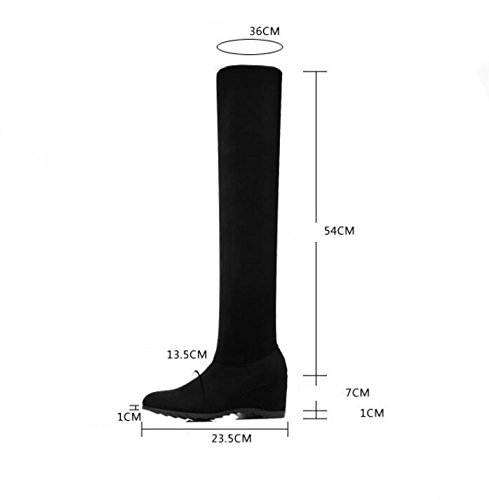 KHSKX-Black Women'S Shoes Boots The New Over The Knee Boots With A Flat Base And Stretch Fabric Long-Legged Girl Boots Wild Women Shoes 38 2Bgiu3Jxv