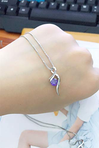 Diamond Necklace Pendant Women Girls Clavicle Chain Excellent Woman Gift Jewelry Music Note Symbol Student (Purple ()