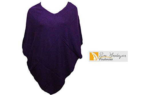 100% Cashmere Poncho - Colour 'Purple' Pashmina Poncho - Hand Made in Nepal By Pure Himalayan Pashmina - RRP $150 -