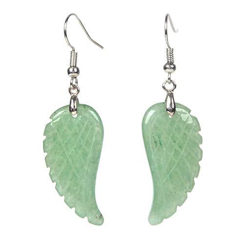 Natural Tribal Designs - Natural Green Aventurine Gemstone Crystal Healing Reiki Chakra Handmade Angel Wing Dangle Earrings